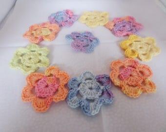 Crochet flowers, crochet appliques, flower appliques, for scrapbooking, multi coloured, mixed colours,   set of ten,  embellishment