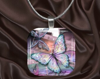 Pastel Butterfly Glass Tile Pendant with chain(CuBu4.2)