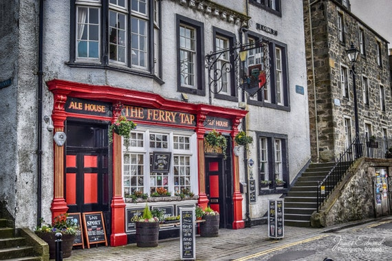 Edinburgh Digital Download, Pub Photo, Bar Photo, Architecture Photo, Restaurant Print, south queensferry, Scotland Photo, Old City