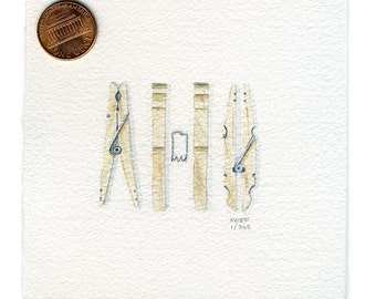 Small Realistic Wooden Clothespins Watercolor Painting