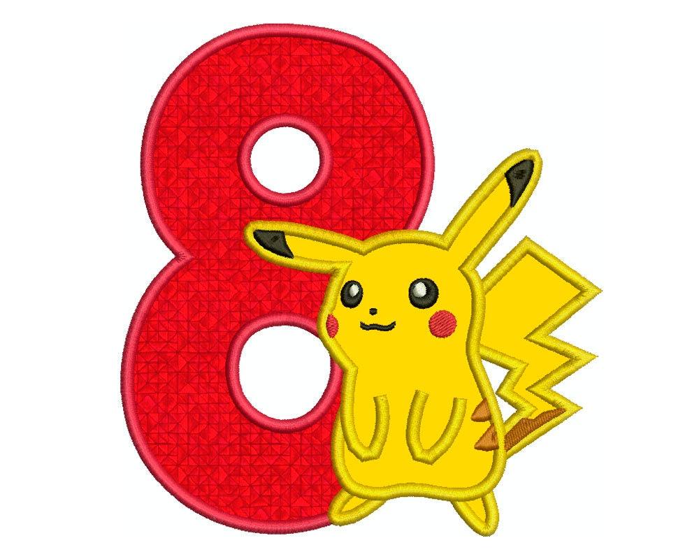 pikachu n u00famero 8 - m u00e1quina bordado de applique