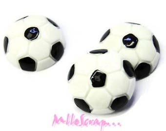 Set of 3 colorful soccer balls resin embellishment scrapbooking *.