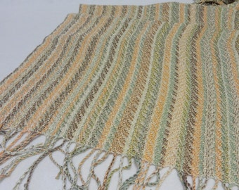 Handwoven Shawl, Summer Shawl, Beach Shawl, Wedding Shawl, Wedding Stole, Summer Stole, Handwoven Rayon Shawl,  #17-06A