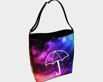 Umbrella over the pixelised rainbow day tote bag