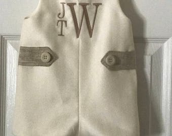 3m, 6m, 9m, 12m, 18m, 2t, 3, 4 Cream Linen Summer Suiting Fabric Jon Jon w/Khaki accents, Weddings, Christenings, or special occasions