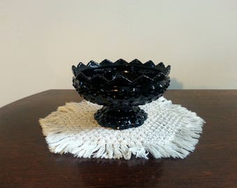 Fenton Ebony Black Hobnail Candle Holder Bowl