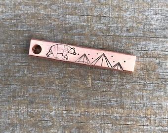 Dog Tag, Geo Bear Bar Tag, Stick Dog Tag, Geo Mountain, Hand Stamped Dog Tags, Dog Tags, Pet ID Tag, Metal Hounds