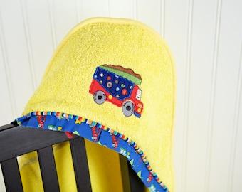 dump truck applique hooded towel many colors