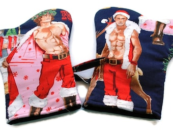 LAST SET Oven Mitts Christmas Hunks set of 2 Navy Blue