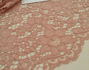 Pink Lace fabric, French Lace, Embroidered lace, Wedding Lace, Bridal lace, Evening dress lace, Lingerie Lace, Alencon Lace ME925023
