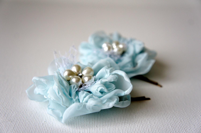 Bridal hair clip seafoam blue hair flower wedding har clip zoom izmirmasajfo