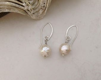 Silver Earrings Nucleated Pearl Sterling Silver Contemporary Ivory White Wirework Earrings