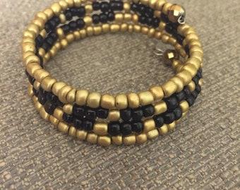 Golden Black Boho Cuff - Memory Wire Wrap Bracelet