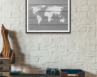 Gray World Map - Rustic Wood - World Map Wood - Faux Wood World Map - World Map Art Print - Rustic World Map - Travel Art - Office Decor