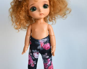 Little black floral rose tights for Lati Yellow, Middie Blythe or Pukifee dolls