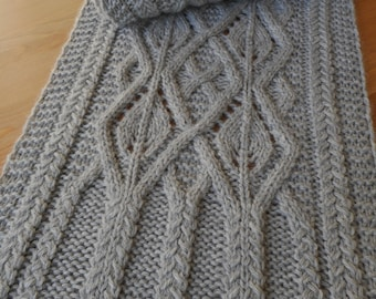Pattern to Knit Newscastle Manor Scarf,  Cables, Eyelets, Worsted Weight yarn