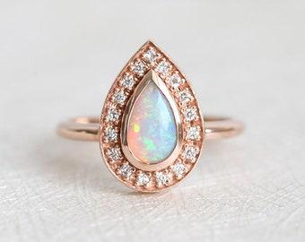 Australian Opal Ring, Pear Opal Ring, Fire Opal Ring, Halo Diamond Ring, Opal and Diamond Ring, Genuine Australian Opal Ring, Rose Gold Opal