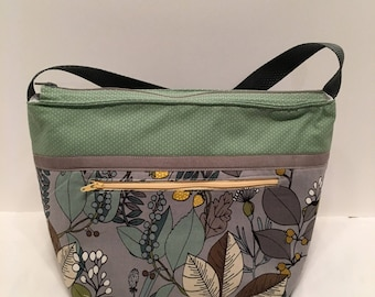 "LIPL5- Deep Lunch Bag: ""Grey Matters"" washable insulated lunch bag with zippered front pocket and zippered top closure."