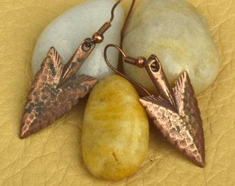 Copper Arrowhead Earrings on Ear Wires, One pair