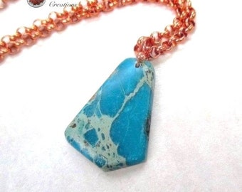Genuine Turquoise Pendant, Copper Chain Adjustable Necklace, Gift for Women & Men, Matrix Turquoise Stone, December Birthstone N315