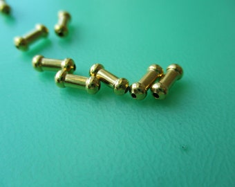 Gold Plated Tube Bead, GP Round Tube Spacer, GP Smooth Tube Spacer Bead, 7x3mm, lot of 90.