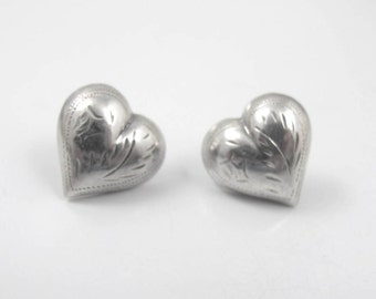 Sterling Silver Heart Earrings. Etched Engraved Puffy Heart Stud Earrings. Vintage Puffy Heart Jewelry