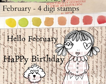 February - Whimsical gal and her pup with two sentiments - digi stamp set available for instant download