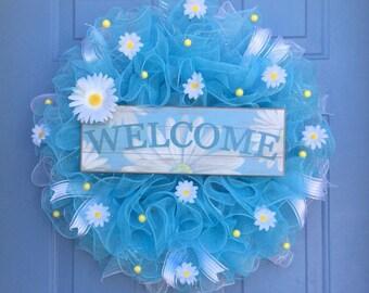Spring wreath, front door wreath, Spring wreath, Daisy wreath, Spring deco mesh wreath, yellow daisy wreath, Summer wreath, deco mesh wreath