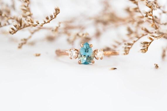 Ready to ship 1 week- Aquamarine pear moissanite 14k gold twig engagement ring,aquamarine engagement ring, three stone engagement ring
