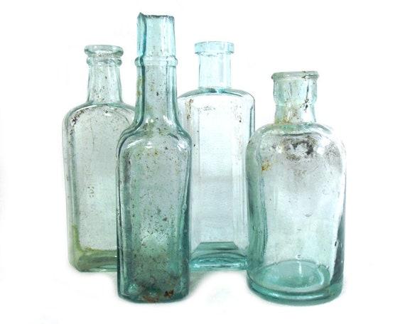 """5.5"""" Antique & Vintage Set of Aqua Glass Bottles"""