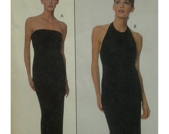 Strapless Evening Gown Pattern, Halter Neck, Fitted, Straight, Stretch Knit Fabric, Laundry, McCalls No. 9295 Size 10 12