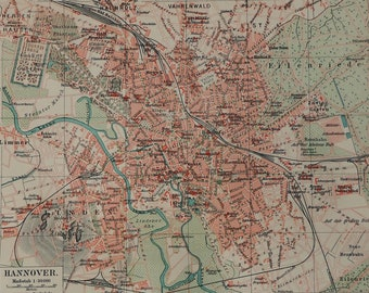 Hannover city map Etsy