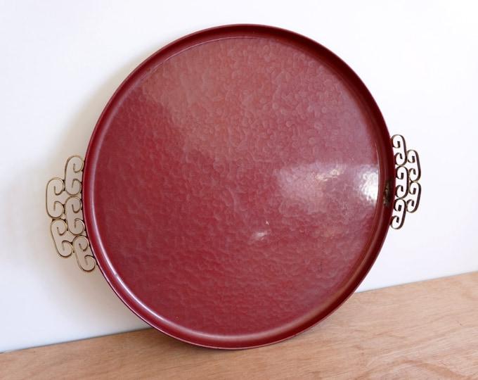 Vintage Moire Glaze Kyes Burgundy Tray Platter - Handmade Mid Century Round Plate Enamelware