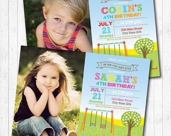 Play Park Birthday Invitation, Play Park Invite, Play ground Invitation, Picnic Invite, photo invitation, printable