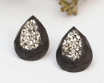 Concrete Teardrop Silver Druzy Earrings