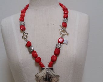 Red Coral and sterling silver shell necklace.