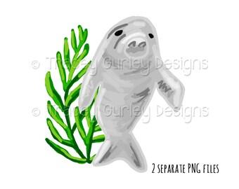 Manatee clipart, manatee clip art, seaweed clipart, sublimation designs, manatee art, beach clip art, invitation art, watercolor clipart