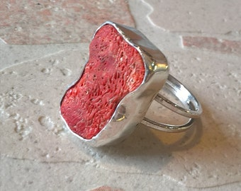 Hand Made Sterling Silver Ring With A Coral Center