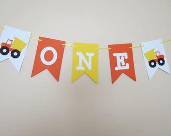 Construction ONE High Chair Banner - 1st Birthday - Birthday Decor