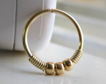Gold Filled Nose Ring - Gold Nose Hoop - Gold Septum Ring