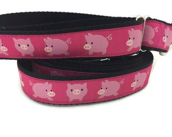 Dog Collar and Leash, Pigs, 1 inch wide, 6ft leash, quick release, metal buckle, chain, martingale, hybrid, nylon