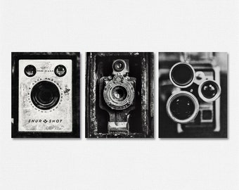 Black and White Industrial Decor, Vintage Camera Prints or Canvas Set, Set of 3 Vintage Cameras, Boho Chic Wall Art, Prints Gifts.