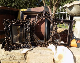 Black And Gold Ornate Vintage PICTURE FRAMES - Gallery Wall - Shabby Chic Frame Collage