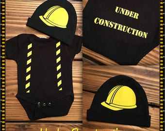 Construction Worker Onesie / TWO piece Infant Construction Worker Onesie & Hat / Construction Halloween Costume/Unique Baby Shower Gifts!