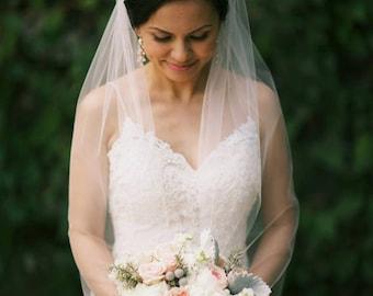 Bridal Fingertip Veil, Single Layer Veil, Wedding Veil, Ivory Veil, Simple Veil, Soft Veil