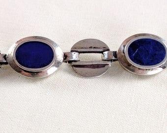 Modernist silver & cobalt blue enamel link bracelet, 7 5/8 inches long