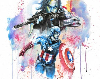 Captain America and the Winter Soldier Watercolor Print