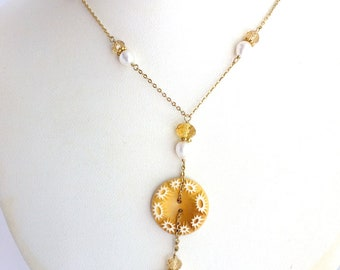 Vintage Button Necklace: Yellow Button with Pearls & Crystals on Gold Chain