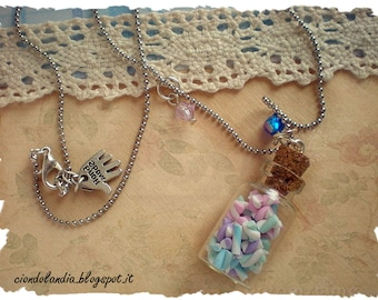 Glass candy bottle necklace (Polymer clay marshmallow)