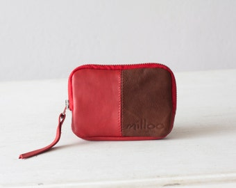 Leather coin purse in red and brown, zipper pouch zipper phone case money bag credit card zip purse - Myrto Zipper pouch